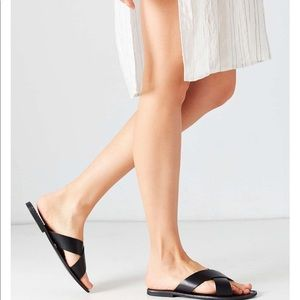 UO Simple Leather Criss Cross Slide Sandals
